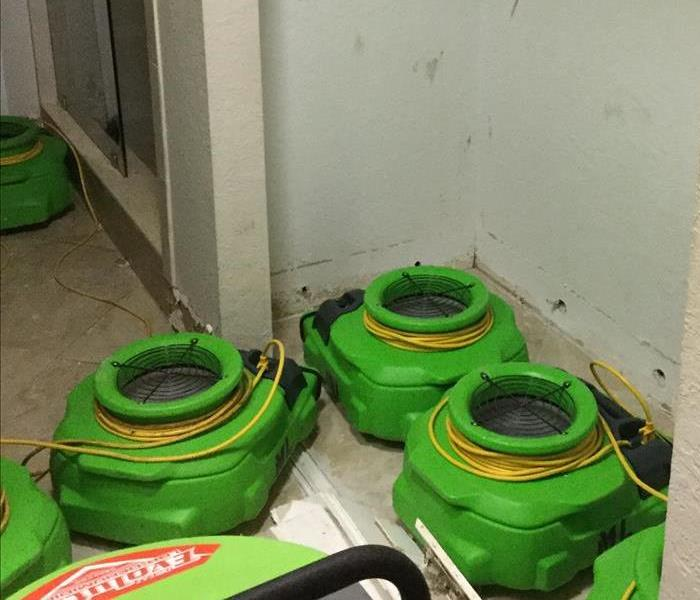 Flood cut wall with green air movers.