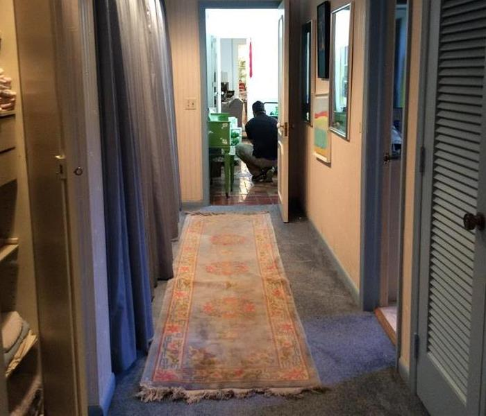 Hallway with blue carpet and a blue throw.